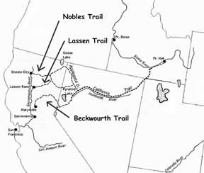 A map pointing out Nobles Trail, Lassen Trail, and Beckwourth Trail.